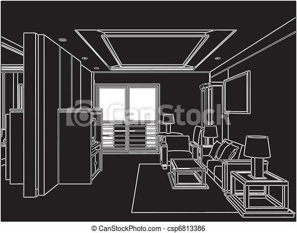 Modern Living Room - csp6813386