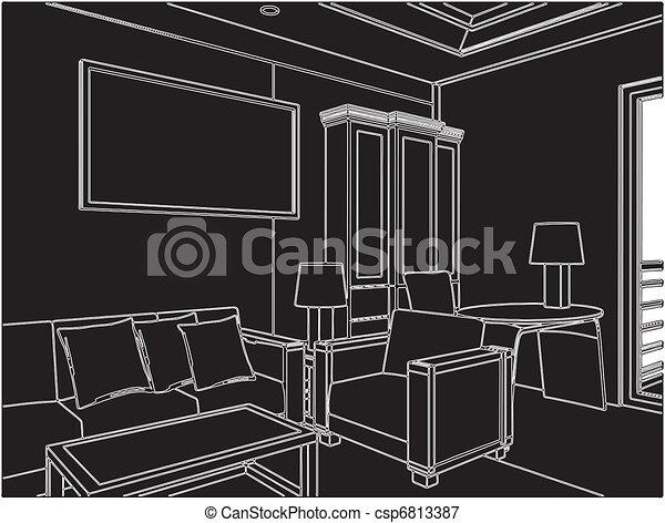 Modern Living Room - csp6813387