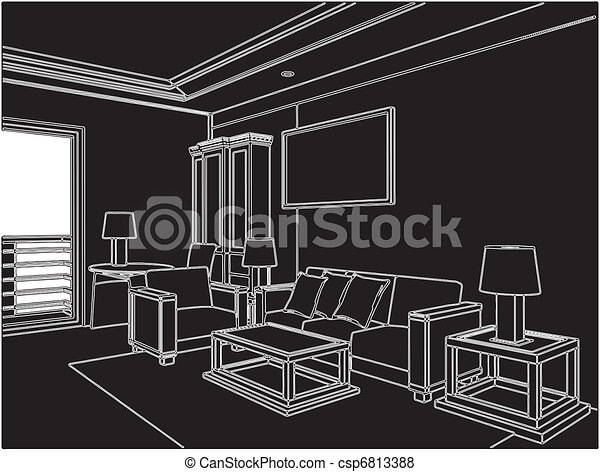 Modern Living Room - csp6813388