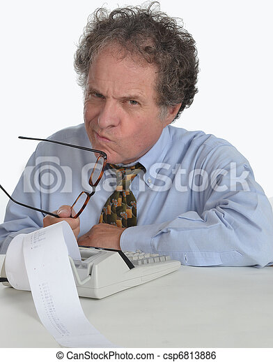 Mature Man Doing Accounting - csp6813886