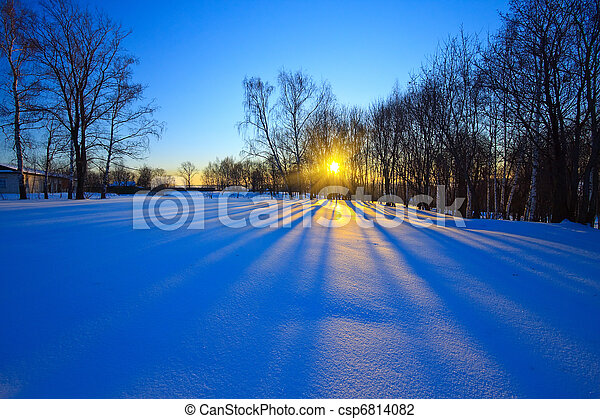 Beautiful sunset in winter forest - csp6814082