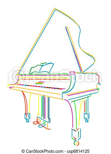 Grand piano over white - csp6814125