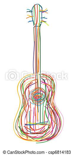 Stylized acoustic guitar - csp6814183