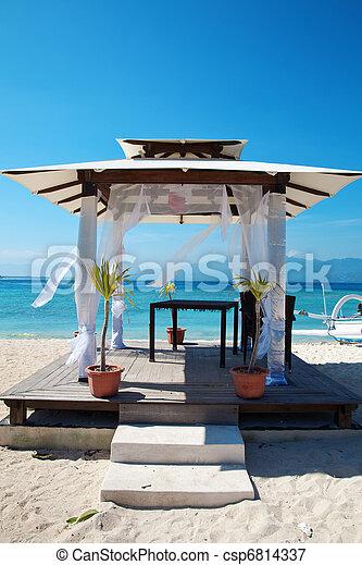 spiaggia, Isole, matrimoni, Padiglione,  gili - csp6814337