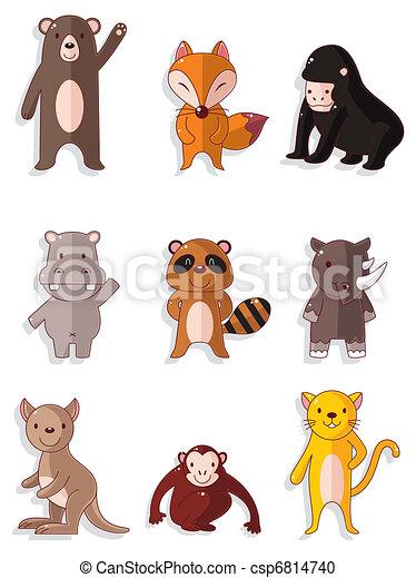 Vettore cartone animato fauna animale icone set - Animale cartone animato immagini gratis ...