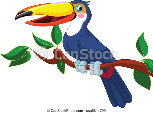 Toucan sitting on tree branch - csp6814790