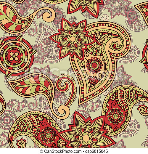 vector seamless hand drawn paisley pattern - csp6815045
