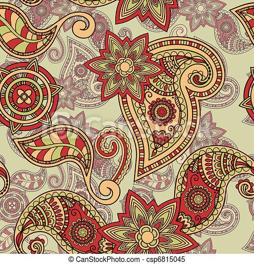 vector seamless hand drawn paisley pattern - csp6815045