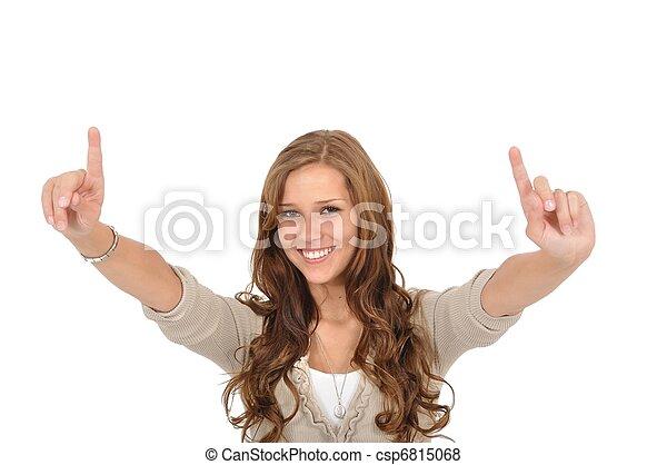 Studentin hebt Finger - csp6815068