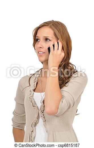 Studentin h?rt Mobilbox ab - csp6815187
