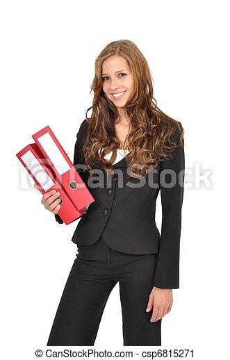 Gesch?ftsfrau mit roten Ordnern - csp6815271