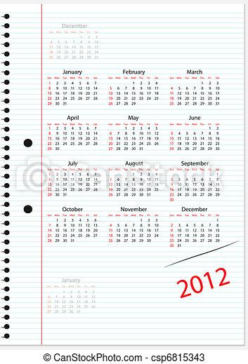 Vektor - šablona, kalendář, 2012 - sériová ilustrace, volné ...