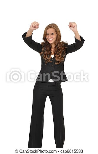 Junge Frau im Anzug jubelt - csp6815533