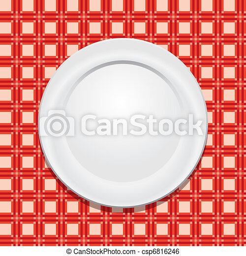 vector picnic tablecloth and empty plate - csp6816246