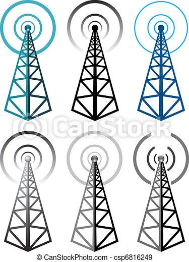Symboles, tour, ensemble,  radio, vecteur - csp6816249