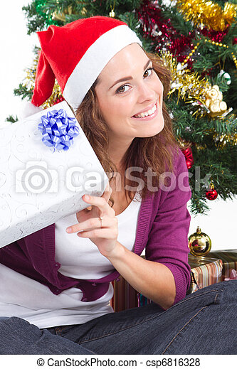 young woman with christmas gift - csp6816328