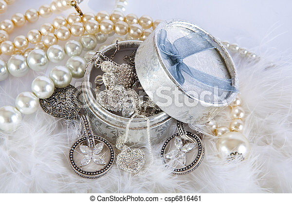 casket with pearl beads and silver ornaments - csp6816461