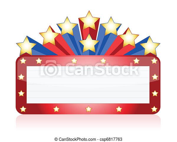 azul, teatro, néon, vermelho - csp6817763
