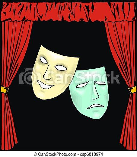 Dibujos de teatro, cubierto, máscara csp6818974 - Buscar Clipart ...