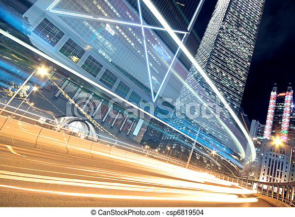 Night Light trace modern architecture background in hongkong, China.  - csp6819504