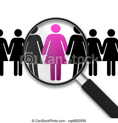 Magnifying Glass and women - csp6820595