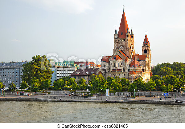 church on Danube River, Vienna - csp6821465