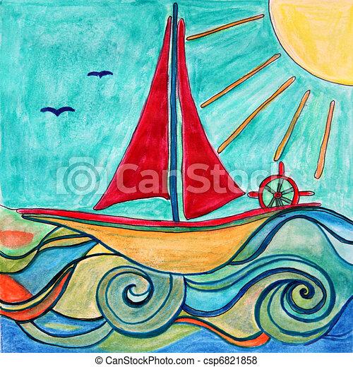 Boat for children room. Original drawing. - csp6821858