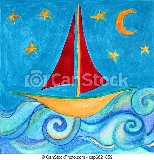 Illustration de salle dessin enfants bateau original aquarelle main csp6821859 - Dessin bateau enfant ...
