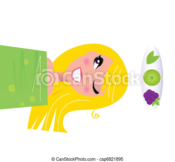 Happy blond girl relaxing and applying fruit vitamins on skin. Vector Illustration.