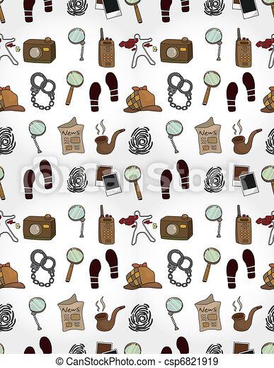 Cartoon detective equipment  seamless pattern - csp6821919