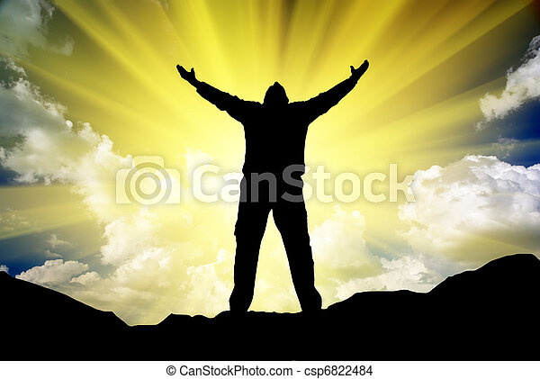 Silhouette of man and sunshine - csp6822484