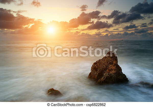 Seascape at sunset - csp6822862