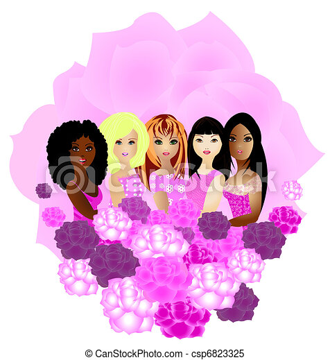 women of different ethnicities together - csp6823325