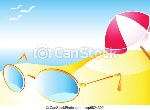 Beach with sun-glasses - csp6824302