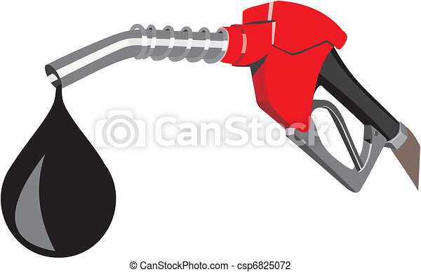 Vector Illustration of Petrol - Refueling nozzle in red ...