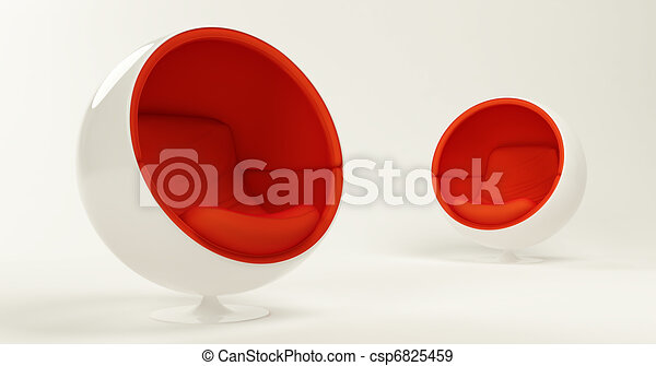 Modern red cocoon ball chairs - csp6825459