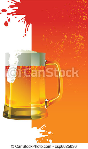 Beer mug with froth - csp6825836