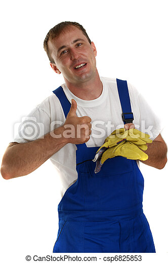 Craftsman at work and yellow protective gloves - csp6825853