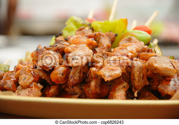 Thai cuisine barbecue chicken skewers - csp6826243