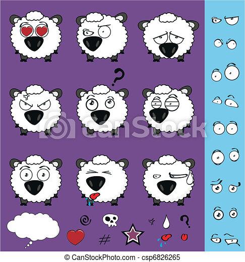 sheep baby cartoon set01 - csp6826265