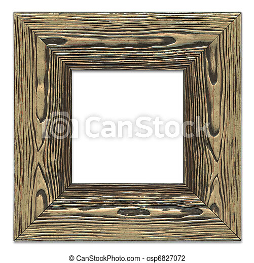 Highly detailed blank picture frame, rough bronze painted wooden texture, isolated on white background - csp6827072
