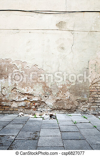 Aged textured street wall - csp6827077