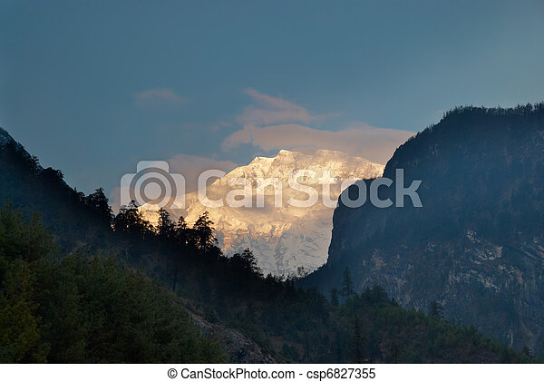 Sunrise at the mountain, Nepal - csp6827355