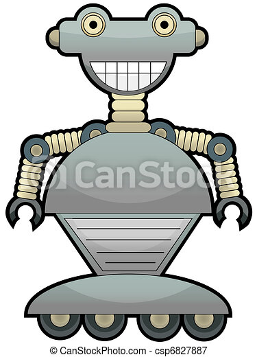Gray robot with big smile wheel fee - csp6827887