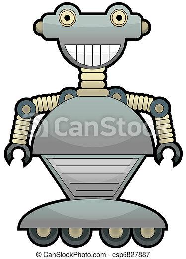Gray robot with big smile wheel fee - csp6827887
