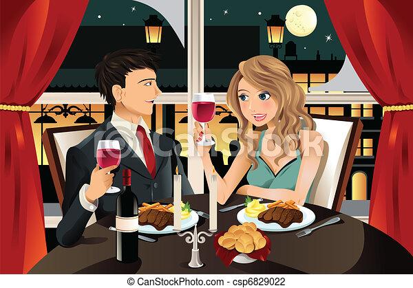 Couple in restaurant - csp6829022