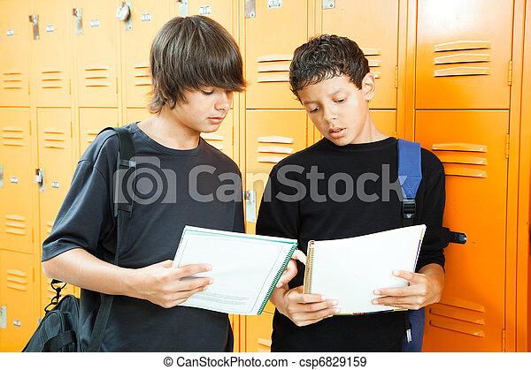 Teen Boys Comparing Homework - csp6829159