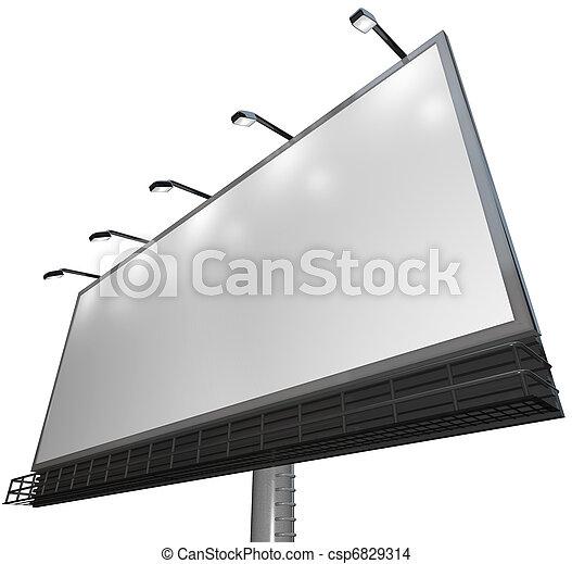 vide, blanc, signe,  -, annonce, de, produit, sur, panneau affichage - csp6829314