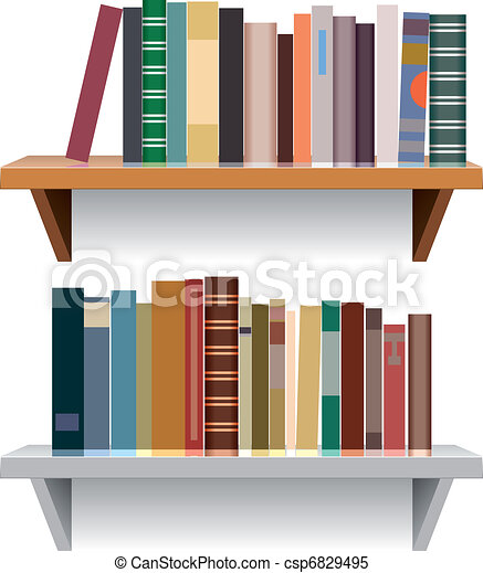 vector modern bookshelves - csp6829495