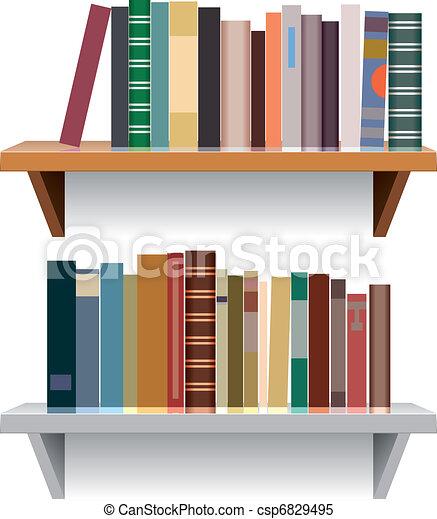 vector modern bookshelves - csp6829495